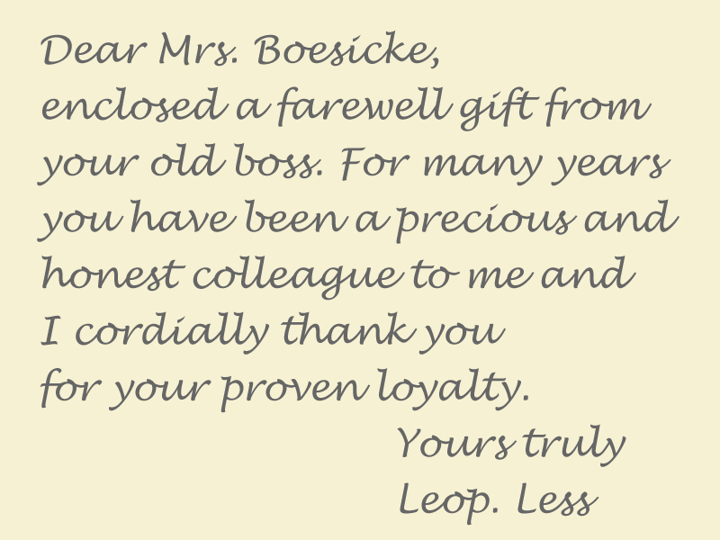 Letter Leopold Less, San Francisco, to Olga Boesicke, Lüneburg, 1945 – EBook Margaret A. McQuillan: An Orange in Winter / The Beginning of the Holocaust as Seen Through the Eyes of a Child
