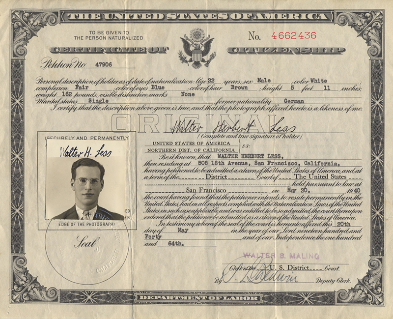Walter Less, certificate U.S. citizenship 1940 – EBook Margaret A. McQuillan: An Orange in Winter / The Beginning of the Holocaust as Seen Through the Eyes of a Child