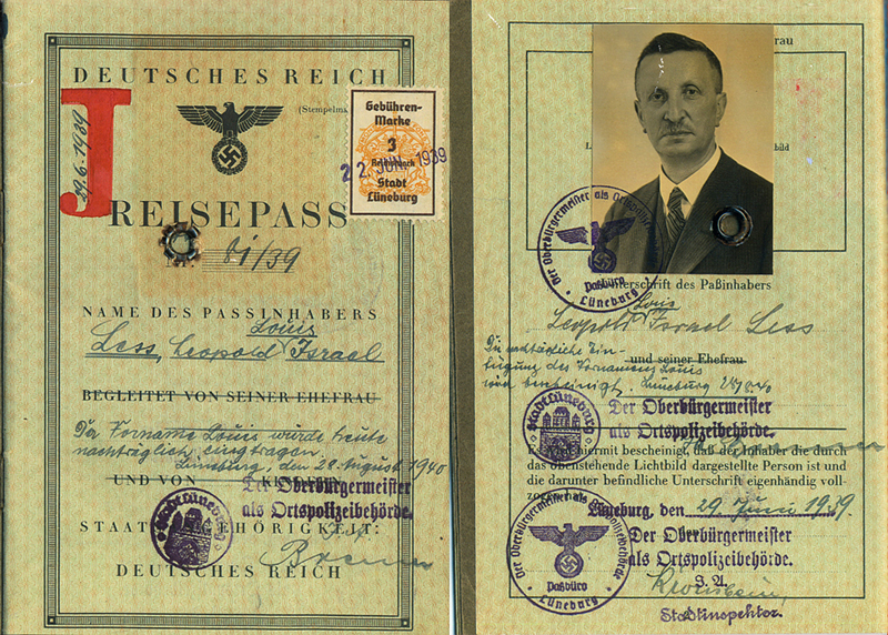 Lüneburg, German passport 1939, Leopold Less – EBook Margaret A. McQuillan: An Orange in Winter / The Beginning of the Holocaust as Seen Through the Eyes of a Child