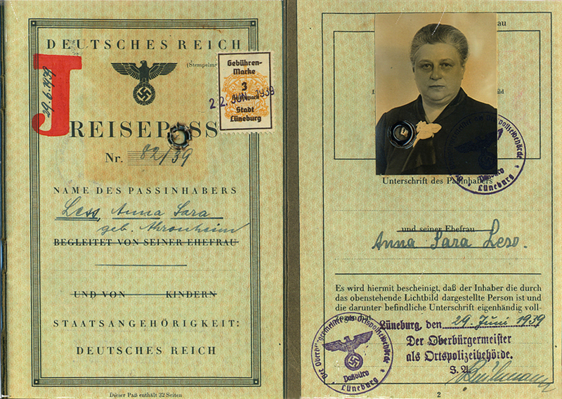 Lüneburg, German passport 1939, Anna Less – EBook Margaret A. McQuillan: An Orange in Winter / The Beginning of the Holocaust as Seen Through the Eyes of a Child