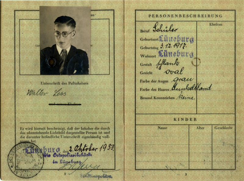 Lüneburg, Walter Less, German Passport 1933 – EBook Margaret A. McQuillan: An Orange in Winter / The Beginning of the Holocaust as Seen through the Eyes of a Child